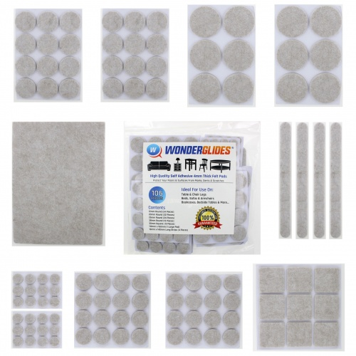106 piece Assorted furniture felt pads | 4mm thick