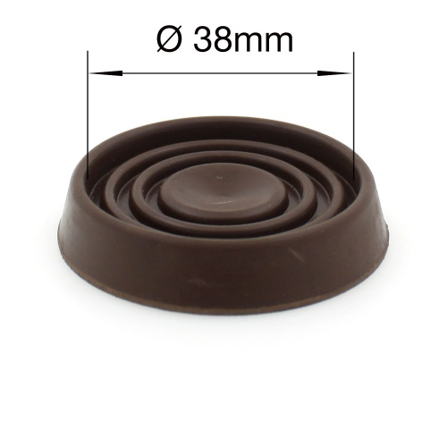 38mm round brown rubber furniture non slip caster cup