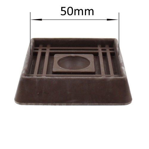 50mm square brown rubber non slip furniture caster cup