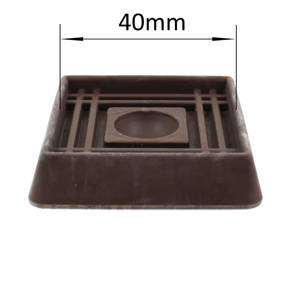 40mm square brown rubber non slip furniture caster cup