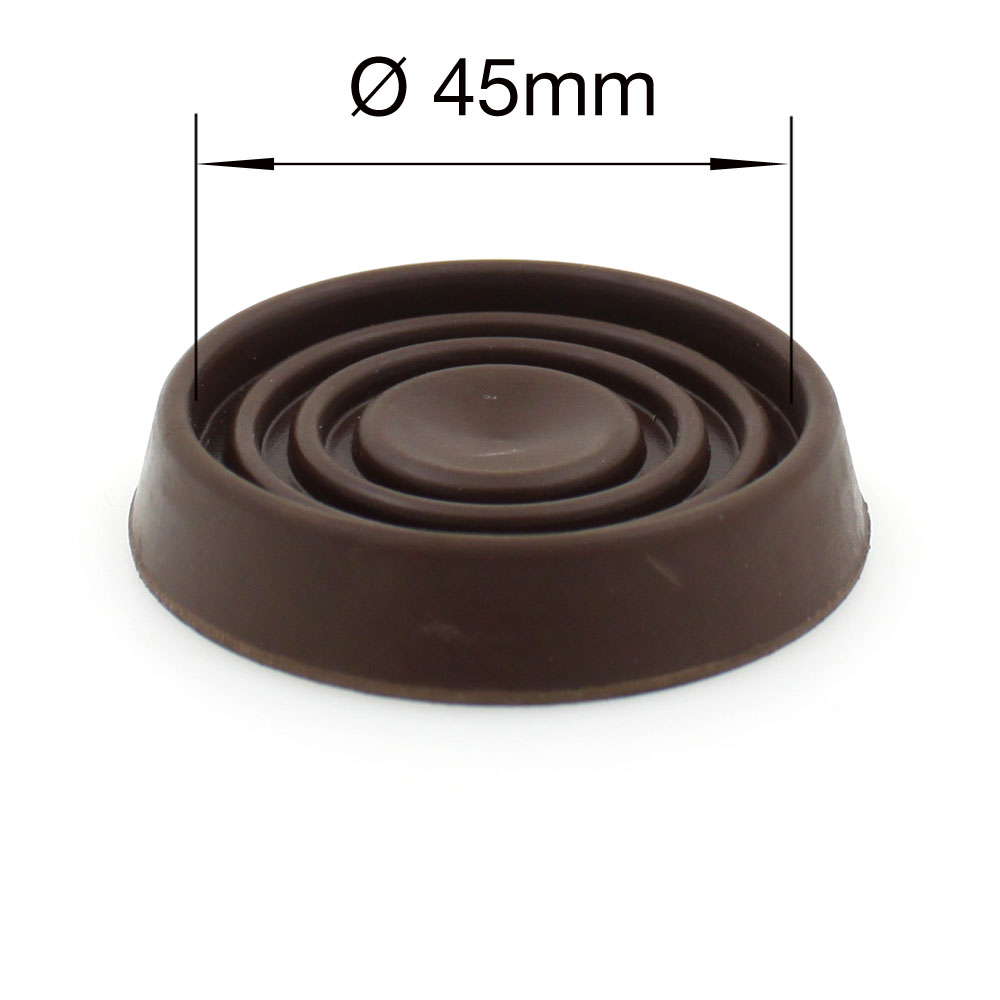 45mm round brown rubber furniture non slip caster cup